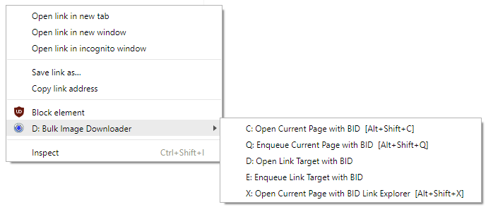 BID Chrome Extension - right click context menu